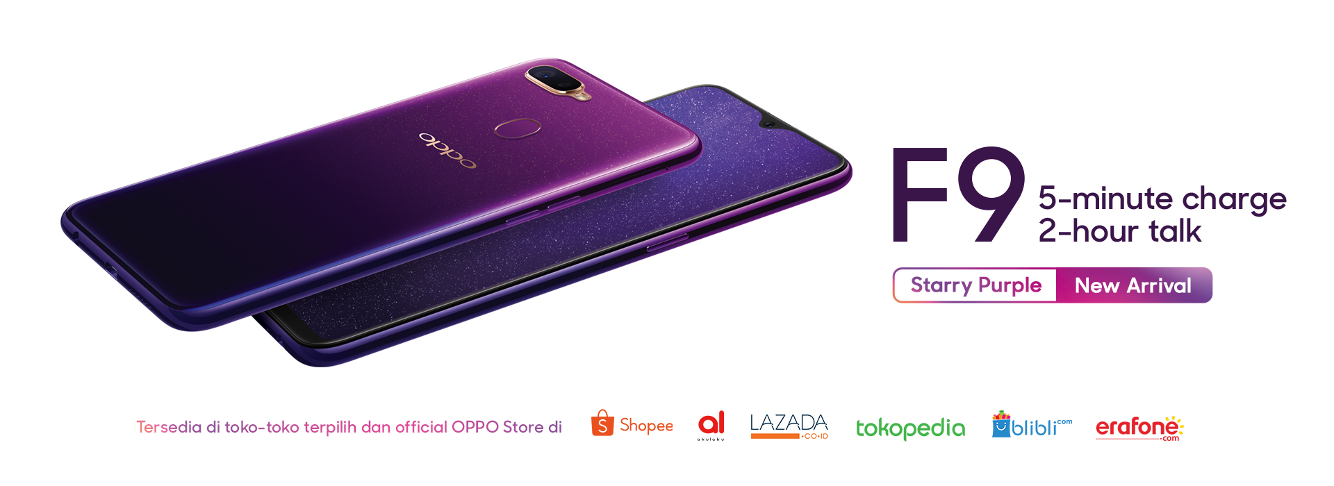 Oppo F9 Starry Purple 5 Minute Charge 2 Hour Talk Indonesia A3s Ungu Learn More About